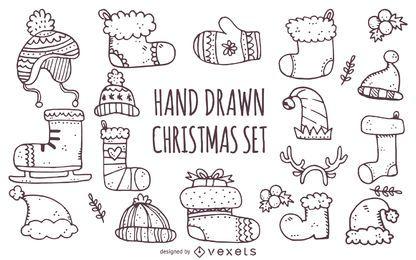 Meia de Natal de inverno desenhada de mão
