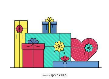 Ilustraciones de caja de regalo de trazo