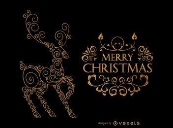 Tarjeta de Navidad ciervos swirly