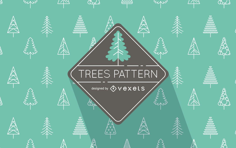 Patrón de árboles ilustrados planos