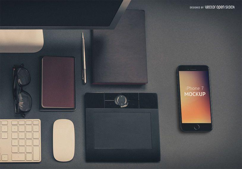 Plantilla iPhone 7 en escritorio PSD