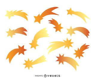 Silhuetas de estrelas cadentes de gradiente