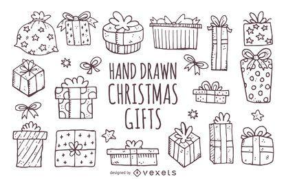 dibujados a mano los regalos de cumpleaños de Navidad