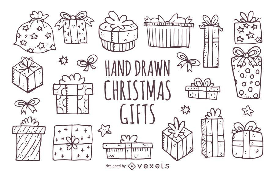 Dibujados a mano regalos de cumpleaños de Navidad
