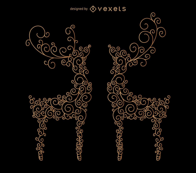Reindeer swirl illustrations