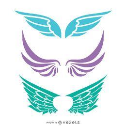 Conjunto de silhueta de asas de anjo