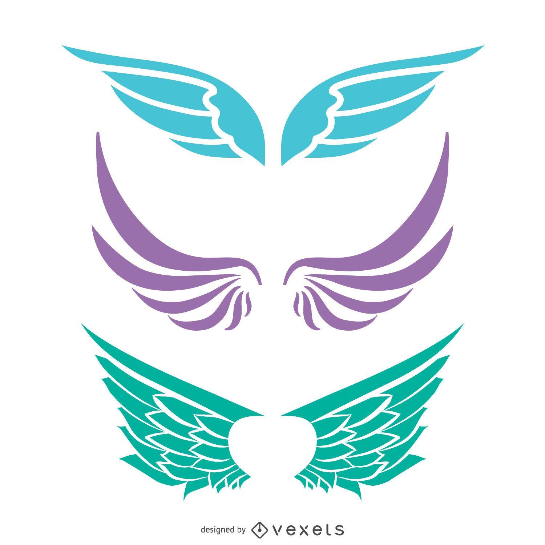 Angel wings silhouette set vector download angel wings silhouette set download large image 1601x1601px biocorpaavc