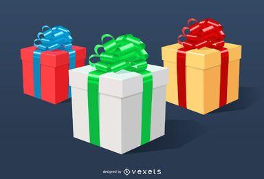 Ilustrações de caixas de Natal 3D