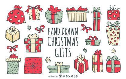 Presentes de aniversário de Natal desenhados