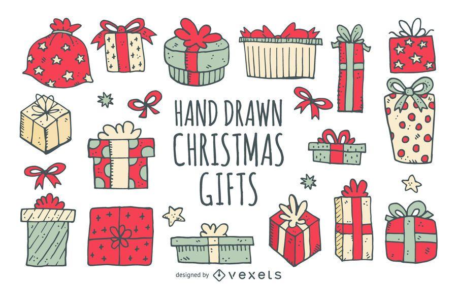 Weihnachtsgeburtstagsgeschenke gezeichnet