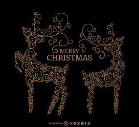 Veado de redemoinho com mensagem de Natal