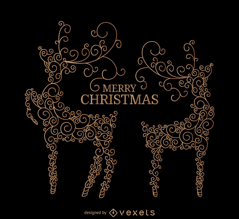 Swirl deer with Christmas message