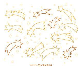 Ilustrações de contorno de estrelas cadentes