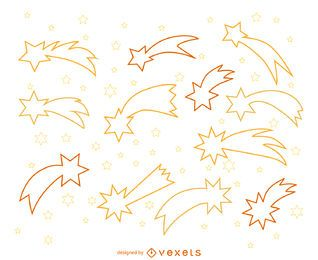 Shooting stars outline illustrations