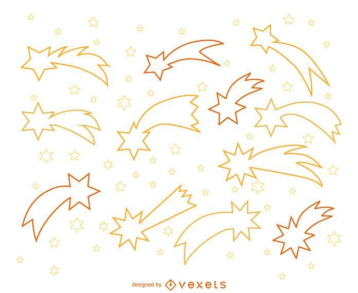 Ilustraciones de shooting stars outline