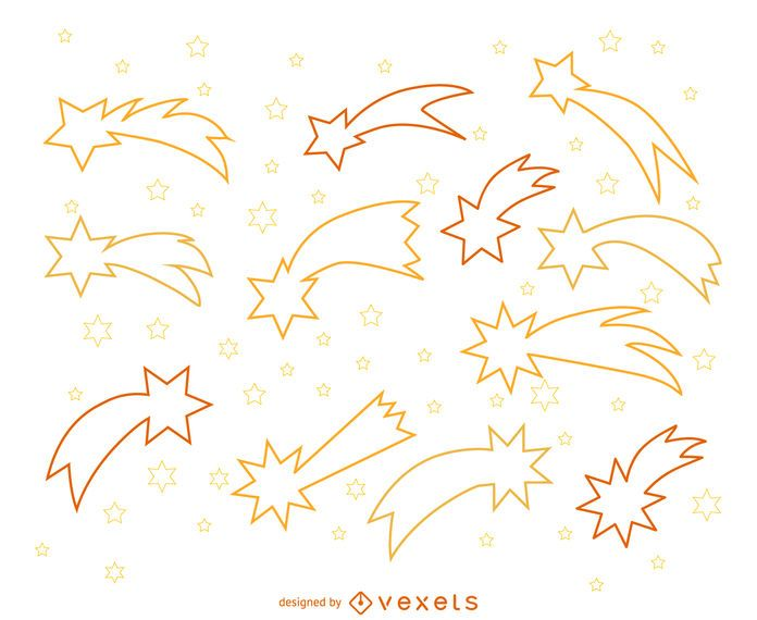 Shooting stars outline illustrations