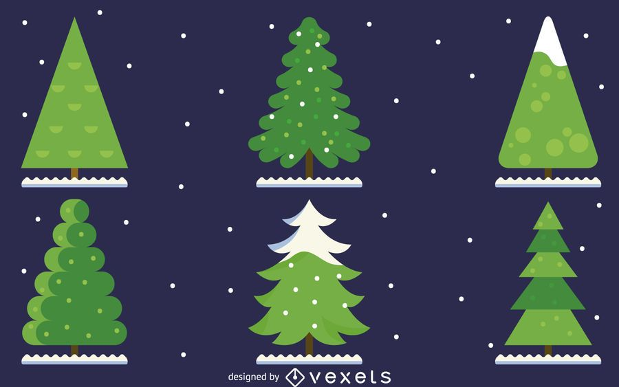 6 ilustração de pinheiro plana