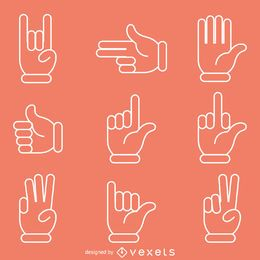 Flat hand signs gestures illustrations
