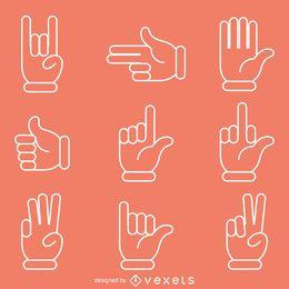 Mano plana signos gestos ilustraciones