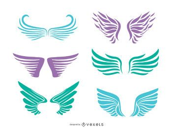 6 angel wings silhouettes set