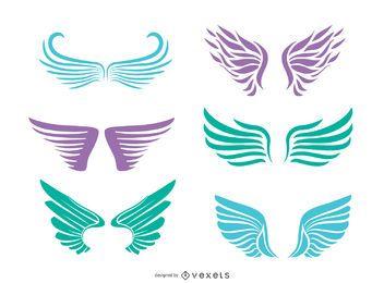 6 conjunto de silhuetas de asas de anjo
