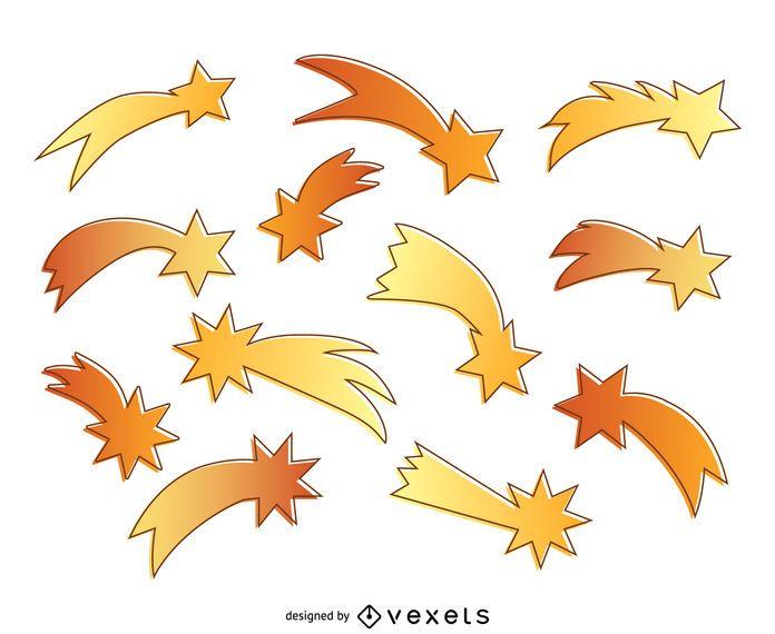 Fondo de silueta de estrellas fugaces