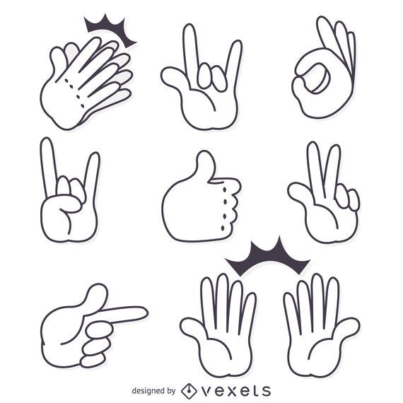 Hand signs gestures isolated illustrations