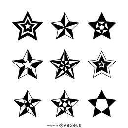 Conjunto de ilustrações de estrelas isoladas