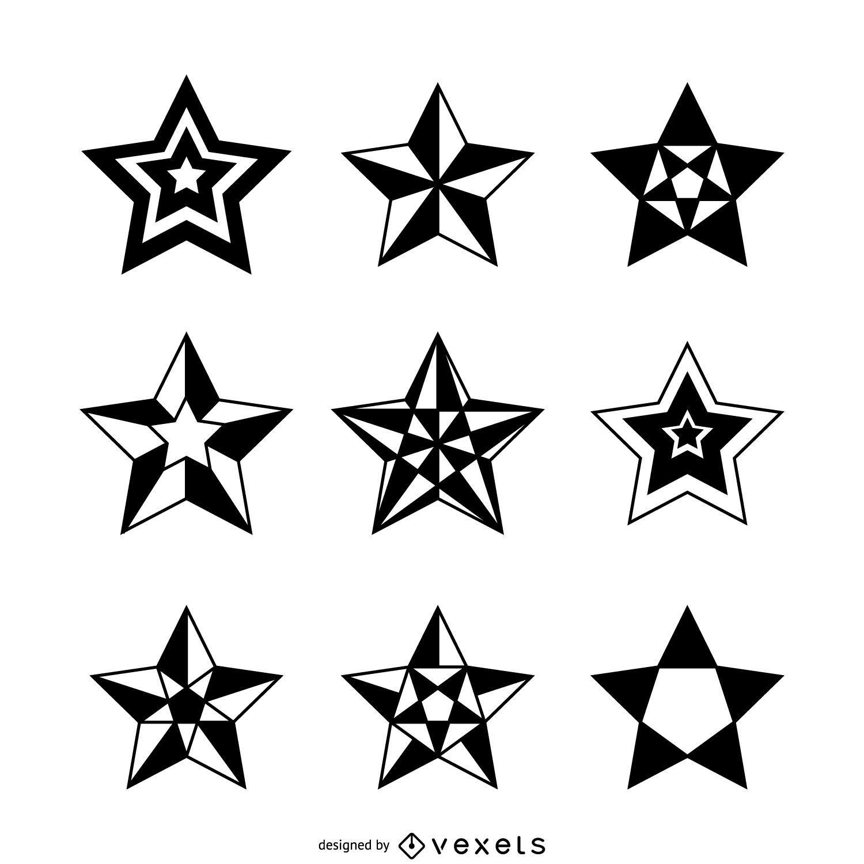 Isolated star illustrations set