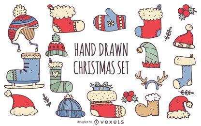 Ilustração de roupas de Natal de inverno