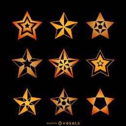 Conjunto de ilustraciones de estrellas amarillas