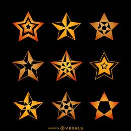 Conjunto de ilustrações de estrelas amarelas
