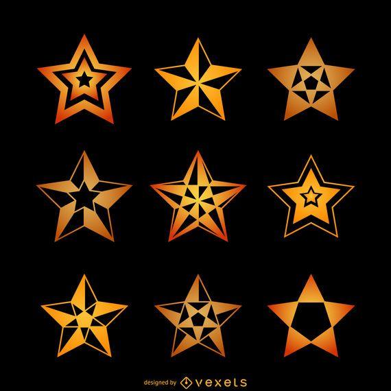 Yellow star illustrations set