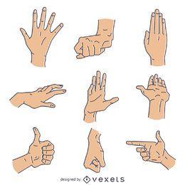 Conjunto de ilustração de gestos de sinais de mão