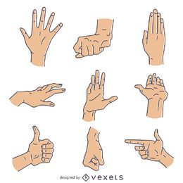 Hand signs gestures illustration set