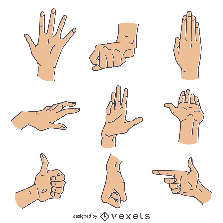 Hand signs gestures illustration set