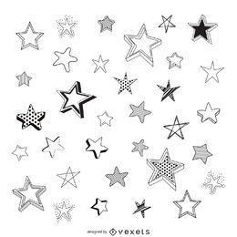 Isolierte skizzierte Sterne