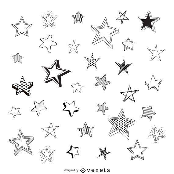 Estrellas bosquejadas aisladas