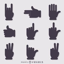 Hand signs gestures silhouettes