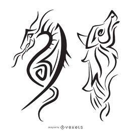 Ilustración tribal de lobo dragón
