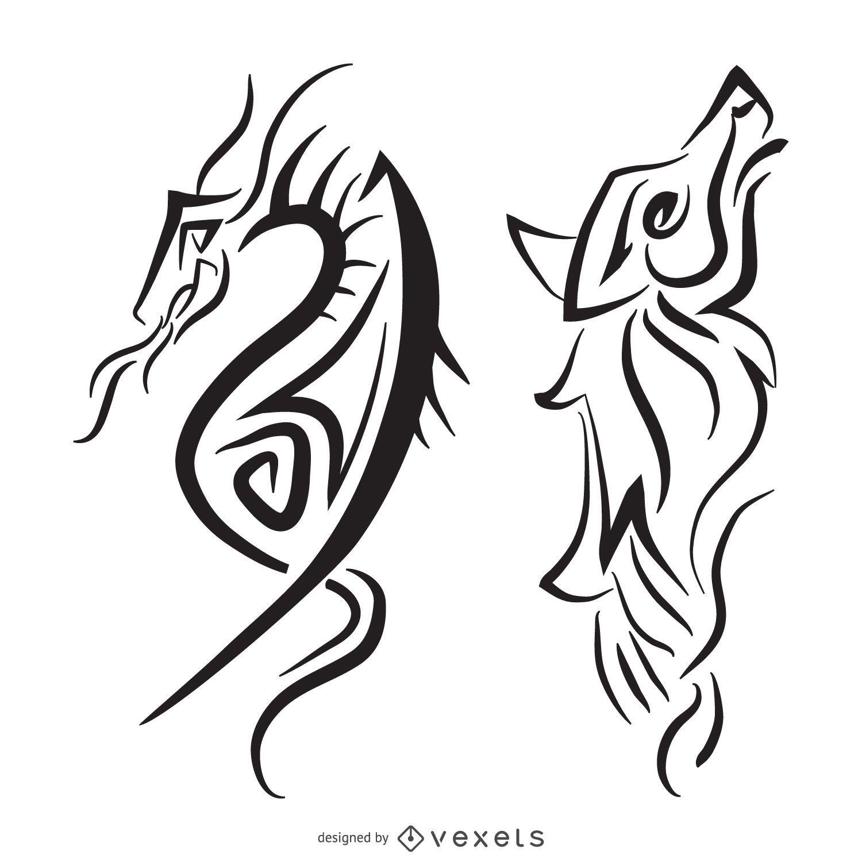 Ilustración tribal lobo dragón