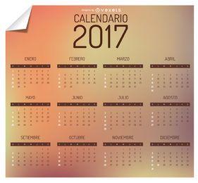 Calendário 2017 em espanhol