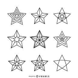 Conjunto de ilustrações de estrelas lineares