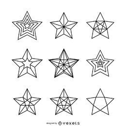 Linear star illustrations set