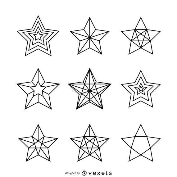 Conjunto de ilustraciones de estrellas lineales.