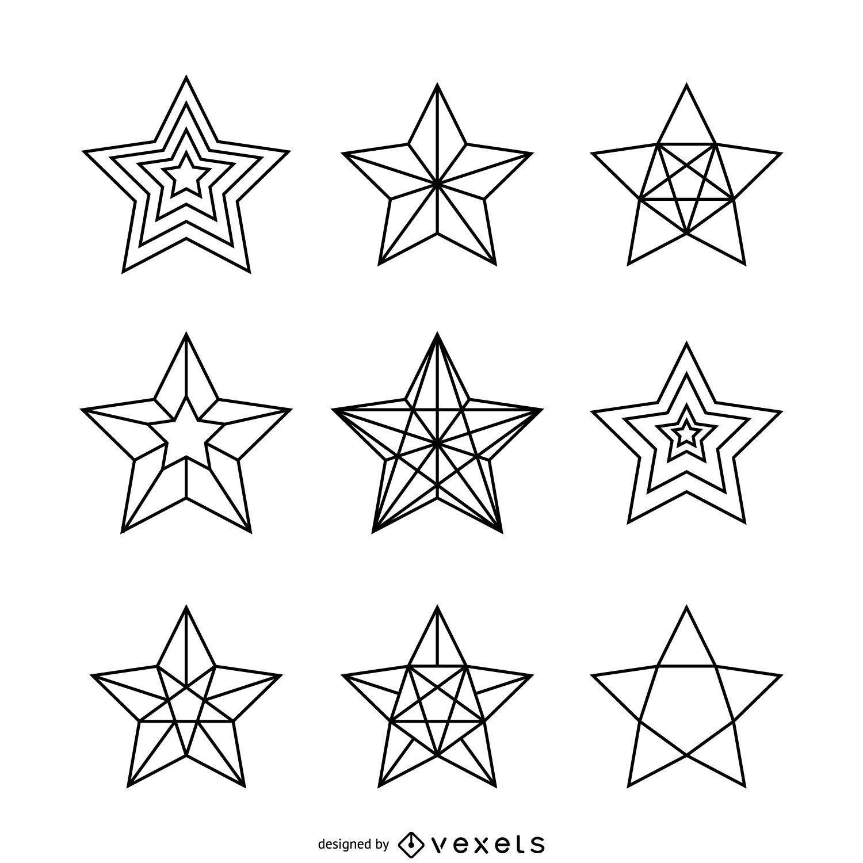 Conjunto de ilustraciones de estrellas lineales