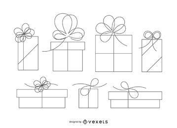 Ilustración aislada del esquema de la caja de regalo