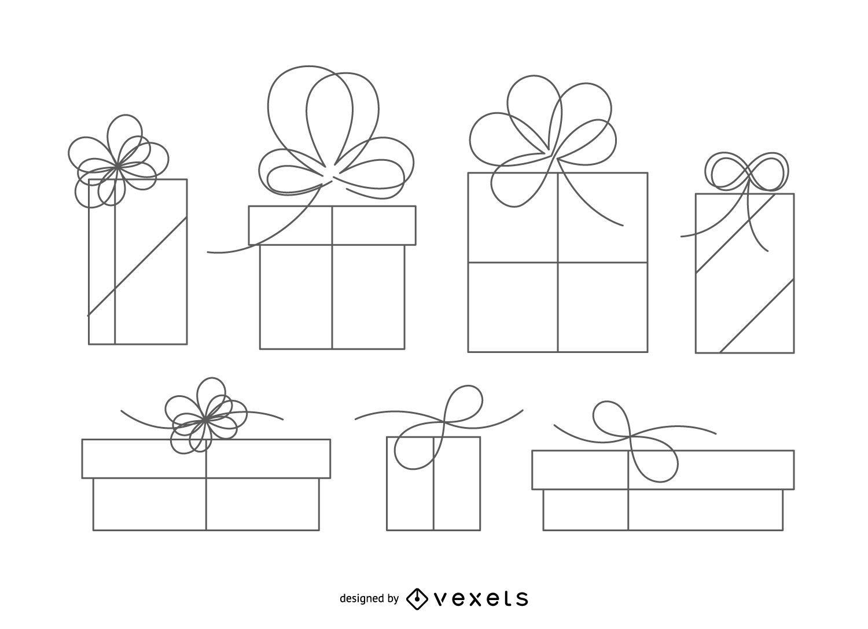 Ilustración de contorno de caja de regalo aislado