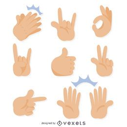 Flat hand gestures illustrations