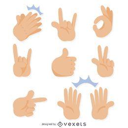 Ilustraciones de gestos de la mano plana